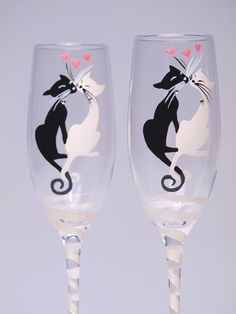 It's like they were hand painted just for me -hand painted champagne glasses w/ Black and White cats