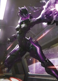 Black/Purple Bioluminescent Female Mecha