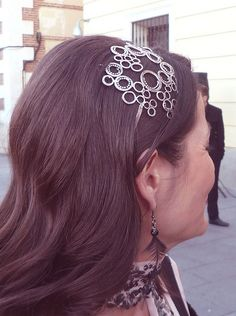 Champagne headband in antiqued silver finish by Las Coronas