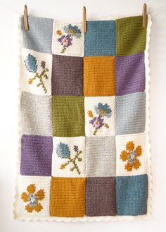 Pippa Patchwork Baby Blanket Crochet Pattern Picture Intarsia PDF Vintage…