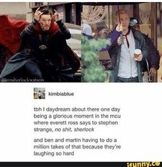 Sherlock fans would lose their minds! Funny Marvel Memes, Marvel Jokes, Marvel Avengers, Marvel Comics, Marvel Gems, Martin Freeman, Benedict Cumberbatch, Loki, Fandoms