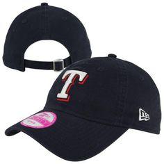 New Era Texas Rangers 9FORTY Ladies Essential Adjustable Hat - Navy Blue