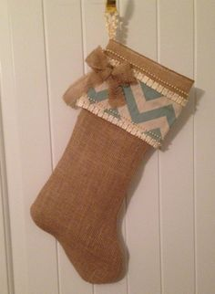Burlap Christmas Stocking by LilyandTuck on Etsy, $40.00