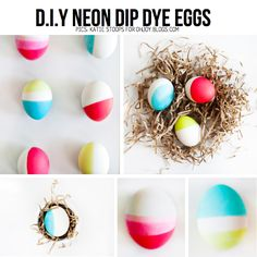 Neon Dip Dye eggs by Katie Stoops for OhJoy.blogs.com, featured in Easy Easter DIY Special on ScrapHacker.com