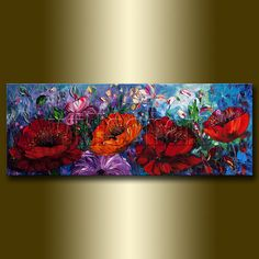 Modern Flower Oil Painting Red Poppies Floral Canvas by willsonart