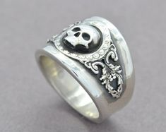 Silver Skull Ring  Skull Jewelry  Silver Wings Ring  Gothic
