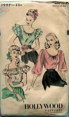 Vintage Hollywood 1997 Pattern WWII Swing Era Blouses 1940s