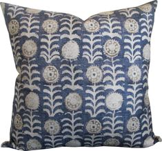 Tansy Indigo-High End Designer Decorative Pillow Cover-Accent Pillow-Single Sided Designer decorative pillow cover Front- Tansy in indigo Back -solid linen Pattern will vary Edges are serged to prevent .