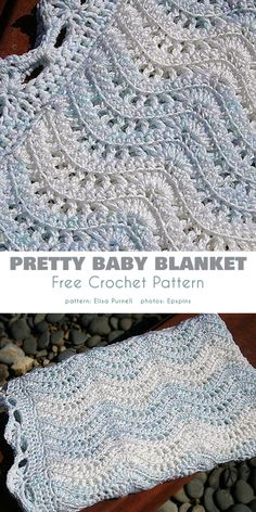 Feather and Fan Stitch Project Ideas Crochet Baby Blanket Free Pattern, Crotchet Patterns, Crochet Stitches, Crochet Baby Afghans, Crocheted Baby Blankets, Crochet Ripple Afghan, Crochet Blanket Edging, Free Baby Blanket Patterns, Easy Baby Blanket