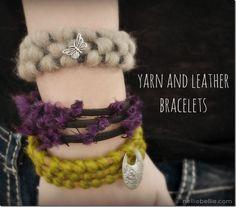 yarn and leather bracelets