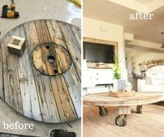 This DIY wire spool coffee table was such a fun project!