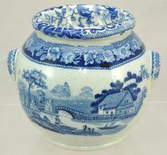 Antique-Wild-Rose-Blue-Staffordshire-Transfer-Potpourri-Jar-c-1840