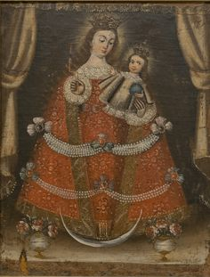 """Spanish Colonial. """"Our Lady of Candlemas."""" late 18th - early 19th C. Oil on canvas on composition board."""