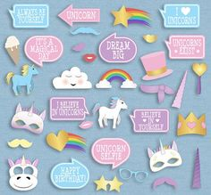 35 Unicorn Themed Party Photo Booth Props by YouGrewPrintables