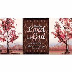 Lord Your God Joshua Landscape Tree Pattern Religious Painting Red & Brown Canvas Art by Pied Piper Creative