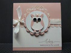 Carte naissance fille avec la perfo chouette / Owl punch baby card.