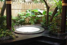 Outdoor jacuzzi of course.