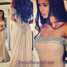 Beautiful mermaid prom dress, ball gown, beaded chiffon prom dress for teens #coniefox #2016prom