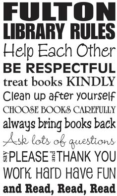 My new wall decal for my library Library Rules Custom Listing for Jennifer by GSGVinylDesigns. $34.00, via Etsy.