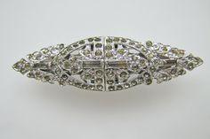 Pair Art Deco Diamante Clear Rhinestone Dress Clips. Coro Canada Duette Brooch Pin. Rhodium Silver. Geometric C1930. Antique Wedding Jewelry by MercyMadge on Etsy
