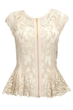 Beige sheer embroidered peplum top available only at Pernia's Pop-Up Shop. - blouses, sheer, green, printed, skirt, black blouse *ad