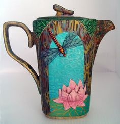 Tea pot with lotus and dragonfly  [Wanda Shum Design]