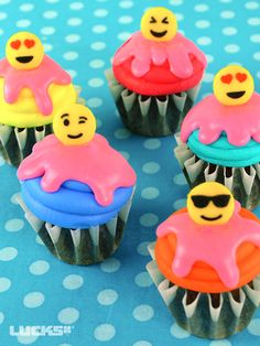 Emoji Cupcakes featuring Lucks Emoji Assortment Dec-Ons® decorations.