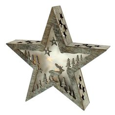 ACHICA | Festive 28cm Battery Operated Lit Star With Deer Design, White Washed