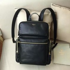 2016 F/W Mulberry Small Pocket Backpack Black Smooth Calf Leather