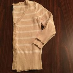 "Maurices Cardigan ✨New closet addition✨ Beige with white stripes. Previously loved, but no stains or tears! 3/4 length sleeve. 20"" from top of shoulder. 15"" from arm pit to arm pit. Comes from a pet-free/ smoke-free home. No trades please. Maurices Sweaters Cardigans"