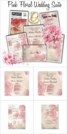 Pink Flowers Wedding Invitation Suite  50% Off All Wedding Invitations - ENDS at MIDNIGHT PT!  http://www.zazzle.com/fancyhouse/gifts?cg=196471289711553268&rf=238207742997519561&tc=fb