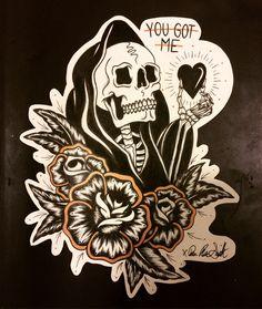 reaper tattoo old school american traditional Future Tattoos, Love Tattoos, Beautiful Tattoos, Body Art Tattoos, Tatuagem Old Scholl, Berg Tattoo, Grim Reaper Tattoo, Tattoo Designs, Skeleton Art