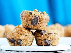 Breakfast just got better with these mini-muffins, made with a chocolate chip cookie dough batter.