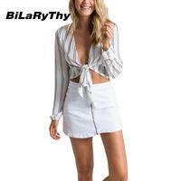BiLaRyThy Fashion Women's Deep V Lace Up Chiffon Shirt Tops Long Sleeve Striped Slim Crop Tops Blouse