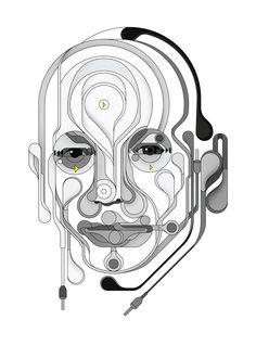"creative graphic portraiture ""Tony Fadell"" (iPod designer) for Stuff Magazine by Brit Charles Williams via Behance 10365829"