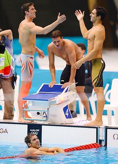 USA's Michael Phelps, Conor Dwyer, Ryan Lochte and Ricky Berens celebrate after winning the Men's 4 x 200m Freestyle Relay. Propelling Michael Phelps to his 19th medal and making him the most decorated Olympic champion of all time