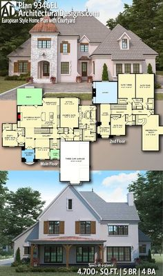 Architectural Designs Home Plan gives you 5 bedrooms, 4 baths and . Architectural Designs Home Plan gives you 5 bedrooms, 4 baths and sq. French Country House Plans, European House Plans, Modern House Plans, Country Houses, Dream House Exterior, Dream House Plans, House Floor Plans, Sims 4 Houses Layout, House Layouts