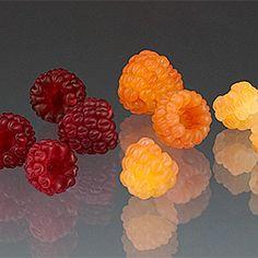 Glass raspberries by Elizabeth Johnson.