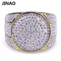 Hip Hop Rock Iced Out Bling Jewelry Ring Gold Color Micro Pave Diamonds Cubic Zircon Rings Five Sizes Diamond Bands, Gold Bands, Diamond Bracelets, Diamond Jewellery, Mens Band Rings, Rings For Men, Bling Jewelry, Wedding Jewelry, Half Eternity Ring