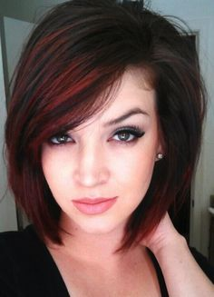 Short hair ombre red and swept bangs