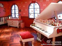 hello kitty piano room