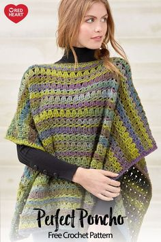 Yarnspirations - Tina Messerschmidt - Yarnspirations Perfect Poncho free crochet pattern in Colorscape yarn. Combine shell stitches with the phenomenal color choices of this beautiful yarn. It's a great addition to your wardrobe! Poncho Au Crochet, Crochet Scarves, Crochet Clothes, Knit Crochet, Poncho Shawl, Crochet Summer, Crochet Stitches Free, Knitting Patterns Free, Crochet Patterns