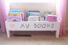 Nursery book shelf, baby nursery storage bin, kids storage, bookcase, book storage, toy storage, stuffed animal storage, kids room storage by MadisonMadeDecor on Etsy https://www.etsy.com/listing/460515250/nursery-book-shelf-baby-nursery-storage