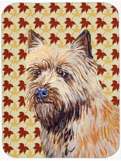 Fall Leaves Cairn Terrier Portrait Glass Cutting Board