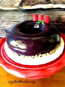 Chocolate and Raspberry Mousse Cake with Mirror Glaze