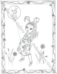 Original hand-drawn Digital Coloring page Instant PDF | Etsy Printable Coloring, Etsy Vintage, Hand Drawn, Coloring Pages, Fantasy Art, Whimsical, How To Draw Hands, Gothic, Bunny
