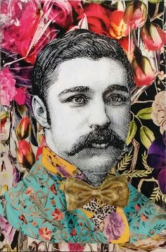 "Orignal decoupage artwork UNFRAMED victorian dandy blue floral suit yellow shirt golden bowtien black magenta background ""Gentleman I"" by Lorypalomi on Etsy Victorian Gentleman, Paper Collage Art, Piero Fornasetti, Yellow Shirts, Altered Books, Digital Collage, Dandy, Magenta, Decoupage"