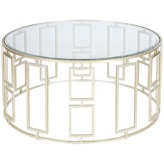 """Worlds Away 36"""" Diameter Coffee Table Beveled Glass Top"""