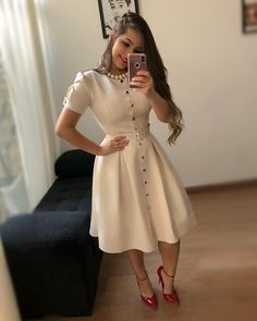 Chic summer Wwomens outfits ideas for charming style summer fashion trendy outfits 2019 Modest Fashion, Hijab Fashion, Fashion Dresses, Beautiful Casual Dresses, Pretty Dresses, Belted Dress, The Dress, Hijab Stile, Trend Fashion