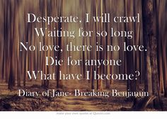 Something's getting in the way...something's just about to break...I will try to find my place...in the Diary of Jane...-Breaking Benjamin